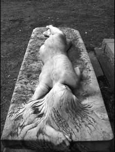 A grave sculpture commissioned by the deceased's wife - a very real and graceful depiction of her devotion to him. I love how her hand grips the edge of the stone.