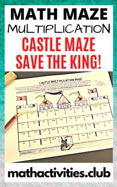 Castle math activity: Castle multiplication maze.  Grade 3-7  Ohh no! The king has been captured by the dragon lord and is now locked in his castle! Help the knight figure out the path to the king by solving the multiplication facts, great for elementary kids!   A fun math activity to reinforce multiplication facts. once your students have found their way through the maze they can create their own maze.  Ideal to use as a math bell-ringer, math warm-up or early finisher activity.