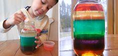 Arcoiris líquido, experimento casero para aprender sobre las diferentes densidades de los líquidos
