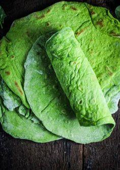 Homemade Spinach Wraps {Katie at the Kitchen Door}