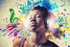 Black Girl Listening to the Music Stock Images