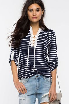 Catalina Striped Lace Up Top