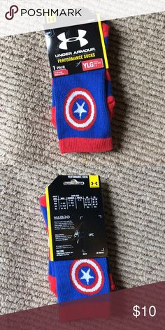 Under Armour Captain America Socks Sold In Bundle Super cute! Brand new! Fits women's shoes size 4-6.5. Crew fit. No trades! Under Armour Accessories Socks & Tights