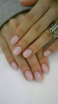 Simple pink manicure. Almond shaped nail.