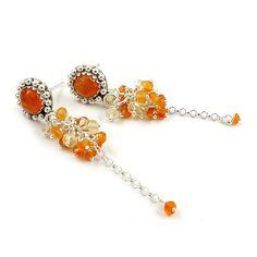 Sterling silver stud earring  orange yellow by MadeBySunflower