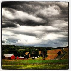 #storm #farm #sky #clouds #nature #barn