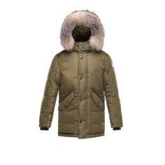 Kids Moncler Army Green Alliaume Long Down Coat