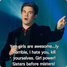 Pitch Perfect, Bumper is such a jerk, but he's still pretty funny Make Em Laugh, Laugh Out Loud, Make Me Smile, Pitch Perfect, Movie Quotes, Funny Quotes, Girls Are Awesome, About Time Movie, Film Music Books