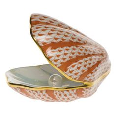 Herend oyster with pearl- the shell is more valuable than the pearl in this case!