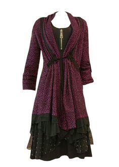 Double Jeu Paris: Long Sweater Cape (In Plum & Black)