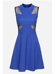 Tidestore Design Unique Sheer Mesh Patchwork Union Flag Sleeveless Blue Dress