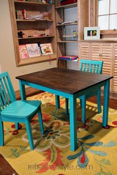 Super cute childsTable and Chairs, great idea for a thrifty find, can be any color for you little one. refreshrestyle.com