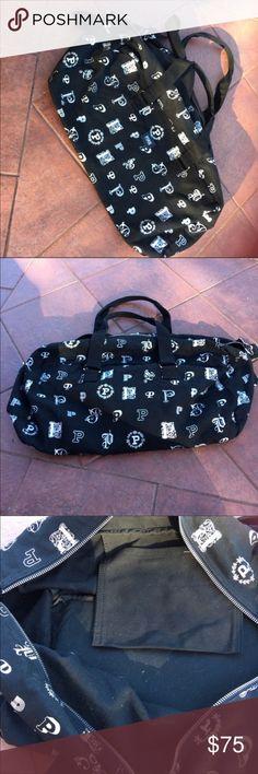 Rare Victoria Secret Love Pink Black Monogram Bag Rare Victoria Secret Love Pink Black Monogram Bag. This bag is huge and hard to find! PINK Victoria's Secret Bags Travel Bags