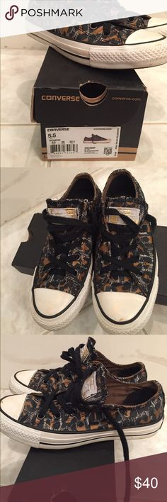 Converse leopard Leopard converse shoes!! The front and the side looks like it's dirty but it's not it's actually part of the shoes look!! It's painted on. Converse Shoes Sneakers