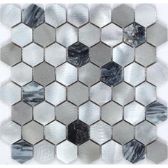 Ruggear Usa Chenx in. x 6 mm Aluminum and Stone Mosaic Backsplash in Black/Gray /Sliver sq. Diy Backsplash, Mosaic Backsplash, Small Bathroom Remodel, Chic Kitchen, Backsplash, Stone Mosaic, Stone Mosaic Backsplash, Shabby Chic Kitchen, Glass Mosaic Tiles