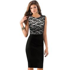 Nice-forever Ladylike Lace Dress Black Sexy Women Pinup Floral Colorblock Sleeveless Tunic Bodycon Summer Vintage Dress 757
