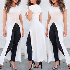 Trendy High Slit Plain Maxi T-shirt Dress Fashion Wear, Women's Fashion Dresses, Dress Outfits, Kurta Designs, Blouse Designs, Casual Work Outfits, Casual Wear, Dress Over Pants, Shirt Dress
