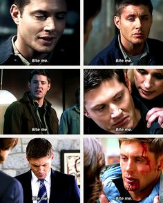 """[gifset] Bite me...[this reminds me of Southern Comfort, mainly because I just re-watched this episode, but instead of his traditional """"bite me..."""" After the possessed man says, """"Oh, the spectre likes you..."""" Dean tells the spectre to come on out so they can make promise bracelets. You're so funny, Dean. Let's get flirtatious so that you can gank the thing. I honestly love how Dean changes throughout s8]"""