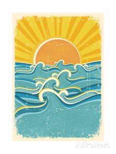 Sea Waves And Yellow Sun On Old Paper Texture.Vintage Illustration Posters by GeraKTV at AllPosters.com