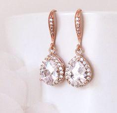 Bruids oorbellen Rose Gold Wedding Jewelry door DreamIslandJewellery