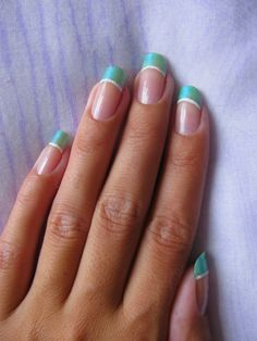Turquoise and white tips.