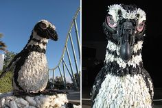 """Creative Art Projects Using Waste to Visualise and Fight Pollution"""" by Debra Higgson Art From Recycled Materials, Recycled Art, Statues, Waste Art, Plastic Art, Environmental Art, Bored Panda, Pet Birds, Creative Art"""