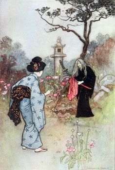 """""""The Nurse"""" - Green Willow and Other Japanese Fairy Tales by Grace James, 1910"""