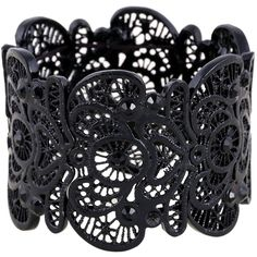 D EXCEED Vintage Metal Lace Pattern Etched Filigree Crystal Stretch... ($17) ❤ liked on Polyvore featuring jewelry, bracelets, vintage jewelry, metal jewelry, hinged bracelet, crystal jewelry and hinged bangle