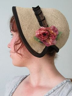 new+regency+bonnet for pride and prejudice and zombies costume. Literary halloween costumes for the librarian.