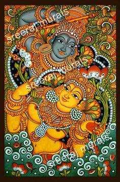 wall mural - Hindu temple art in Kerala, India Kerala Mural Painting, Indian Art Paintings, Madhubani Painting, Indian Artwork, Canvas Paintings, Fabric Painting, Painting & Drawing, Krishna Art, Krishna Drawing