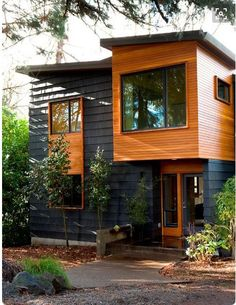 Thin cedar with wide profile shingles and contrasting coloration.