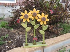 TRIPLE SUNFLOWER on stand with LADYBUGS for home decor by lisabees, $29.95