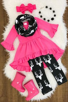 Hot Pink Deer Hi-Low Tunic Scarf Set