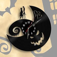 Nightmare Before Christmas Vinyl Record Disney Wall Clock, Jack Skellington #ArtDecoStyle