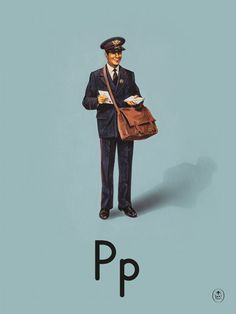 P is for Postman Art Print by Ladybird Books at King & McGaw.