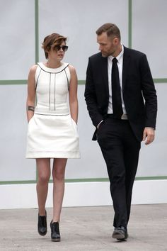 Kristen Stewart and her bodyguard at Chanel Haute Couture 2015 Show in Paris