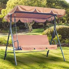 3 Seater Swinging Hammock Garden Outdoor Patio Furniture Bench Seat Canopy Brown