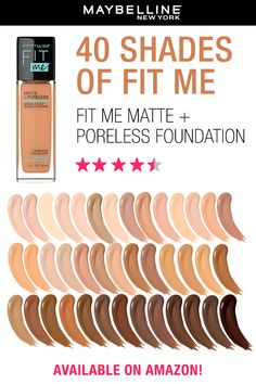 Maybelline Fit Me Matte + Poreless Foundation gives you a natural-looking flawless matte finish. It's formulated with mattifying clay to control shine and blur pores. Ideal for normal to oily skin.