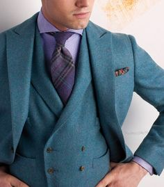 A stunning teal tweed three piece. The combination of a modern cut which is nonetheless influenced by 30s style; with its double breasted waistcoat, natural shoulders and peaked lapels, as well as a traditional tweed cloth is very interesting.