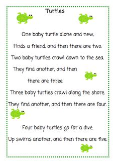 Unit Study Week The Very Busy Kindergarten- Turtles Poem Preschool Poems, Kindergarten Poems, Kids Poems, Preschool Music, Preschool Activities, Reptiles Preschool, Preschool Programs, Kids Music, Preschool Learning