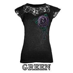Women Skull O-Neck Black Top Cap Sleeveless Shirt