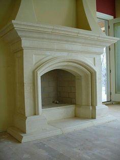 Stone Fireplace Surround, Stone Fireplace Mantel, Brick Fireplace Makeover, Limestone Fireplace, Concrete Fireplace, Home Fireplace, Fireplace Design, Prefab Fireplace, Fireplace Fronts