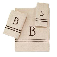 Avanti Linens Block Monogram Letter G 3 Piece Towel Set