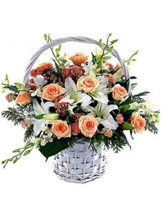 Sincerely wishes, lily and roses flowers basket arrangement - send flowers to Chinese friend, family with best wishes