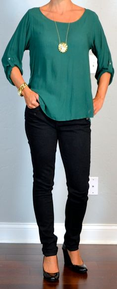 Outfit Posts: outfit post: green blouse, black skinny jeans, black wedges
