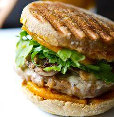 vegan-breakfast-sandwich-pumpkin (recipe includes maple-pumpkin butter) with mushrooms-whole wheat bread-vegan sausage