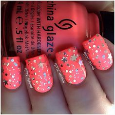 Coral Nails with Star Glitter