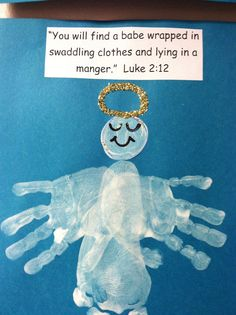 Christmas Story Angel - Add footprint, two handprints, glitter halo, draw on face and add Bible verse. Cute keepsake!