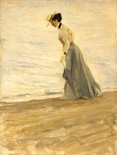Dame am Meer / Lady by the sea, 1908, Max Slevogt. German Impressionist Painter (1868 - 1932)