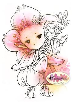 Heres a digital stamp for YOUR coloring & card-making fun! My second cherry blossom sprite in blossom outfit holding a branch. Cherry blossom is